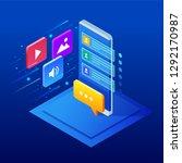 isometric social media bot ...   Shutterstock .eps vector #1292170987