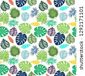 tropical leaf vector seamless... | Shutterstock .eps vector #1292171101