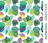 tropical leaf vector seamless... | Shutterstock .eps vector #1292171131