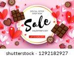 love chocolate. valentines day... | Shutterstock .eps vector #1292182927
