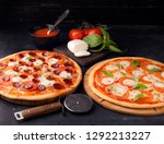 pizza margarita and pepperoni | Shutterstock . vector #1292213227