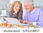 portrait of happy senior couple ... | Shutterstock . vector #1292218057