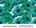 tropical pattern. cyan  white ... | Shutterstock .eps vector #1292229691