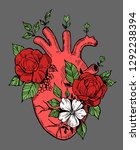 anatomical heart with flowers.... | Shutterstock .eps vector #1292238394