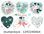 romantic valentine collection... | Shutterstock .eps vector #1292240464