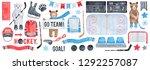 big ice hockey set with brown...   Shutterstock . vector #1292257087