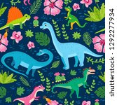 childish pattern with dinosaurs ... | Shutterstock .eps vector #1292277934