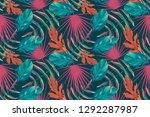 leaf background botanical style.... | Shutterstock . vector #1292287987