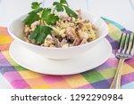 close up of bowl with calamari...