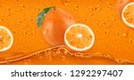 orange drops. fresh fruit... | Shutterstock .eps vector #1292297407