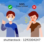 dust mask n95 man wears... | Shutterstock .eps vector #1292304247