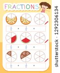 a math fraction worksheet... | Shutterstock .eps vector #1292306134