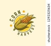cool badge corn harvest logo... | Shutterstock .eps vector #1292325634