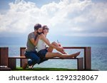 young beautiful couple in love...   Shutterstock . vector #1292328067