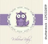 new welcome baby card with cute ... | Shutterstock .eps vector #129232859