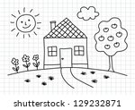 drawing of house on squared... | Shutterstock .eps vector #129232871