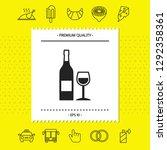 bottle of wine and wineglass... | Shutterstock .eps vector #1292358361