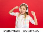 childhood happiness. mp3 player.... | Shutterstock . vector #1292395627