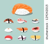 sushi set icon  vector | Shutterstock .eps vector #129242015