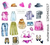 watercolor women clothing... | Shutterstock . vector #1292442217