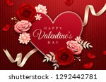 happy valentine's day with... | Shutterstock .eps vector #1292442781