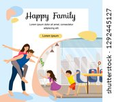 happy young family enjoying new ... | Shutterstock .eps vector #1292445127