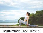 asia woman with sport bra doing ... | Shutterstock . vector #1292465914