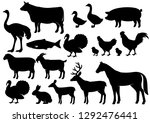 farm animals silhouette icons... | Shutterstock .eps vector #1292476441