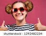 brunette hipster girl in... | Shutterstock . vector #1292482234