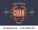 crab  seafood. vintage icon... | Shutterstock . vector #1292486194