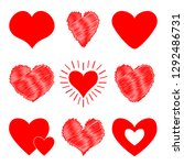 red heart icon set. happy... | Shutterstock .eps vector #1292486731