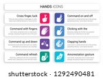 set of 8 white hands icons such ... | Shutterstock .eps vector #1292490481