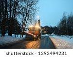 front view of snowplow service...   Shutterstock . vector #1292494231