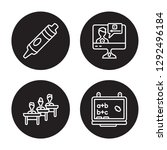 4 linear vector icon set  ... | Shutterstock .eps vector #1292496184