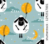 sheeps  hand drawn backdrop.... | Shutterstock .eps vector #1292517001