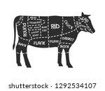 cuts of beef. meat. vector... | Shutterstock .eps vector #1292534107