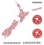 collage map of new zealand... | Shutterstock .eps vector #1292535784