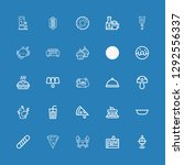 Editable 25 restaurant icons for web and mobile. Set of restaurant included icons line Pot, Cake, Crab, Pizza, Baguette, Bowl, Soda, Chicken, Mushroom, Dinner on blue background