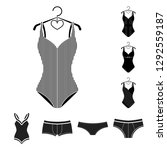 isolated object of bikini and... | Shutterstock .eps vector #1292559187
