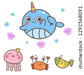sea life animals collection ... | Shutterstock .eps vector #1292568091