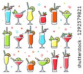 cocktails icon set. different... | Shutterstock .eps vector #1292579821