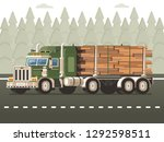 logging truck or timber lorry...   Shutterstock .eps vector #1292598511