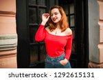 attractive redhaired woman in...   Shutterstock . vector #1292615131