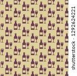 seamless wine bottles and... | Shutterstock .eps vector #1292624221
