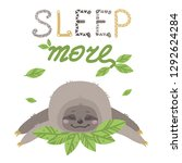 vector cute sloth with... | Shutterstock .eps vector #1292624284