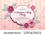 valentine's day party with... | Shutterstock .eps vector #1292629621