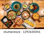 pizza menu in restaurant | Shutterstock . vector #1292630341