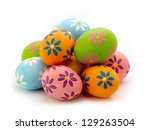 Colorful Easter Eggs On White...