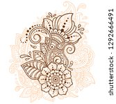mehndi flower pattern for henna ... | Shutterstock .eps vector #1292666491