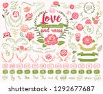 set of roses and floral design... | Shutterstock .eps vector #1292677687
